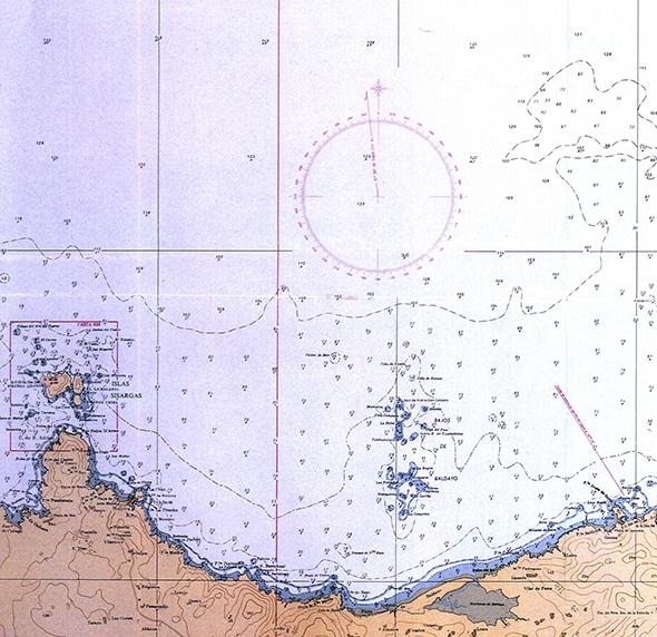 Carta náutica Punta Insua de Caión a Illas Sisargas