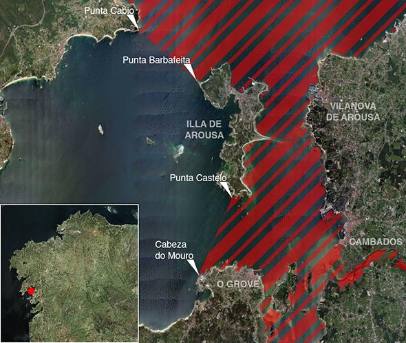 Límites zona de pesca Ría de Arousa