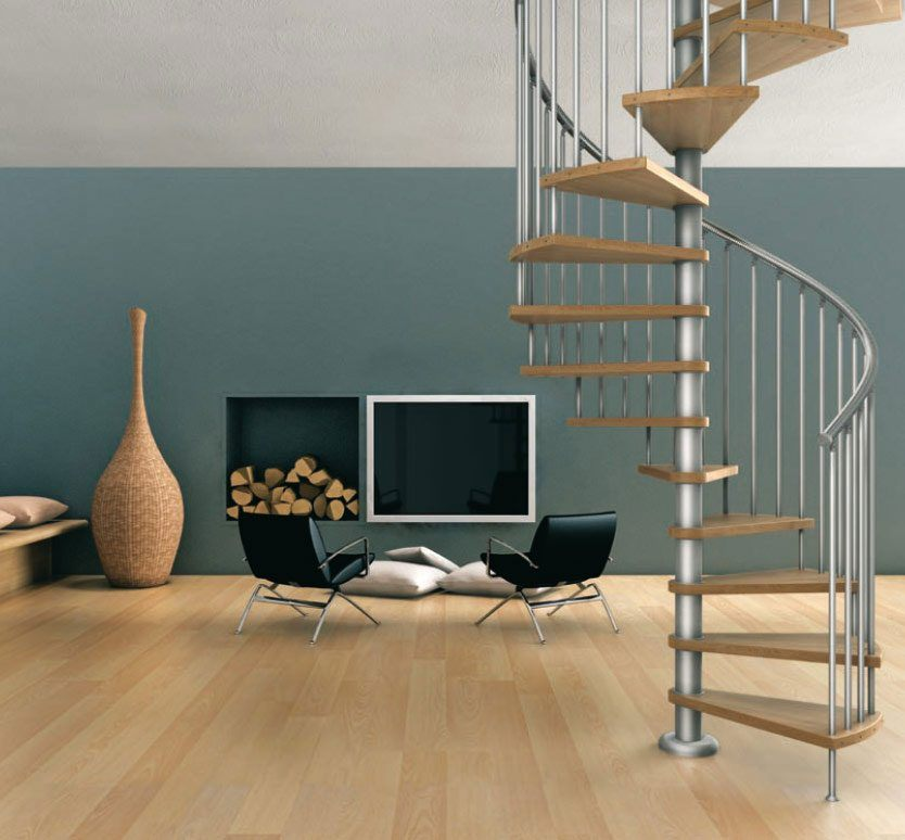 Escadas em caracol para um interior moderno  Fotos e imagens