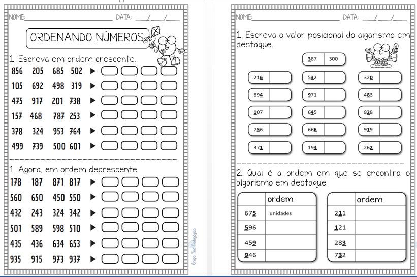 Atividades de matemática com a habilidade BNCC (EF02MA01)