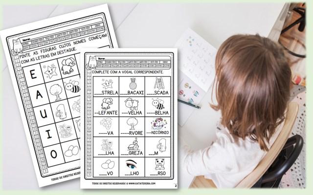 Atividades de alfabetização: Vogais
