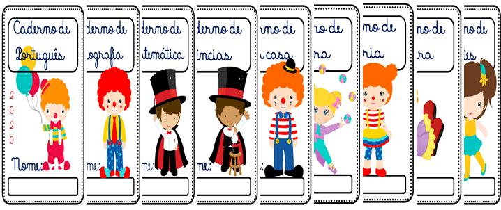 Capas para cadernos tema circo em pdf