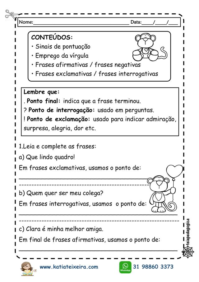 atividades-pontuação-2019-1-724x1024 Sinais de Pontuação,Tipos de frases e letra cursiva.