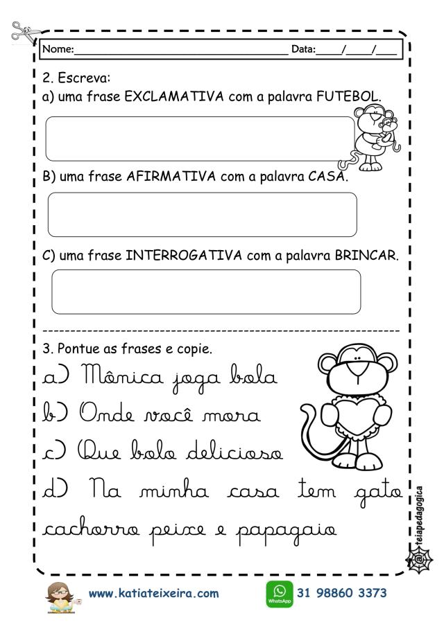 atividades-pontuação-2019-2-724x1024 Sinais de Pontuação,Tipos de frases e letra cursiva.