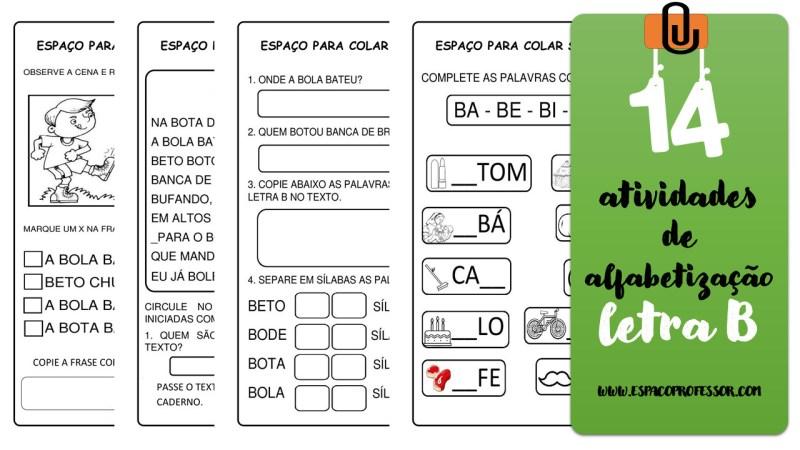 14 Atividades de alfabetização letra B para baixar em pdf