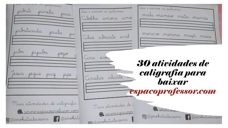 30 atividades de caligrafia para baixar