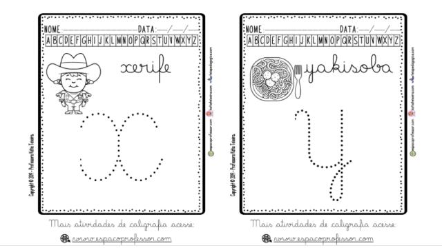4 Alfabeto cursivo pontilhado