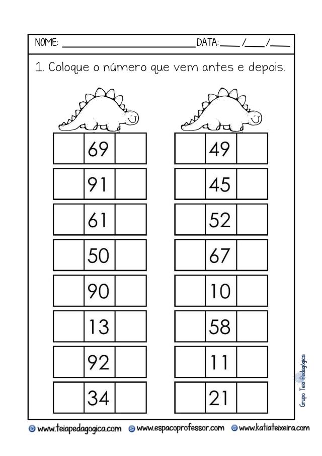 Identificar o antecessor e o sucessor de um número.