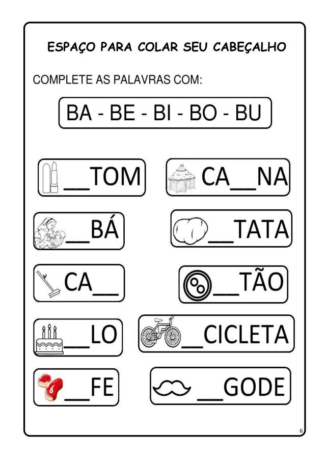 14 Atividades de alfabetização letra B