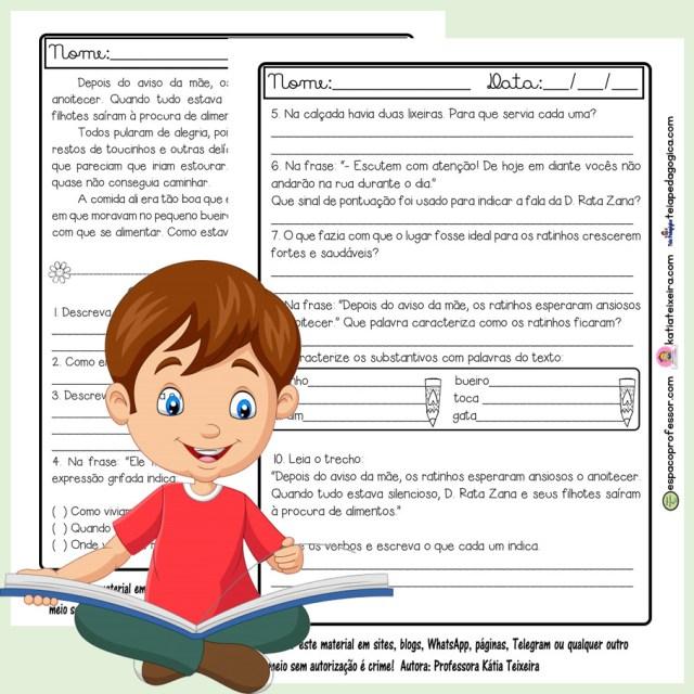 Atividade de leitura e interpretação 4º ano