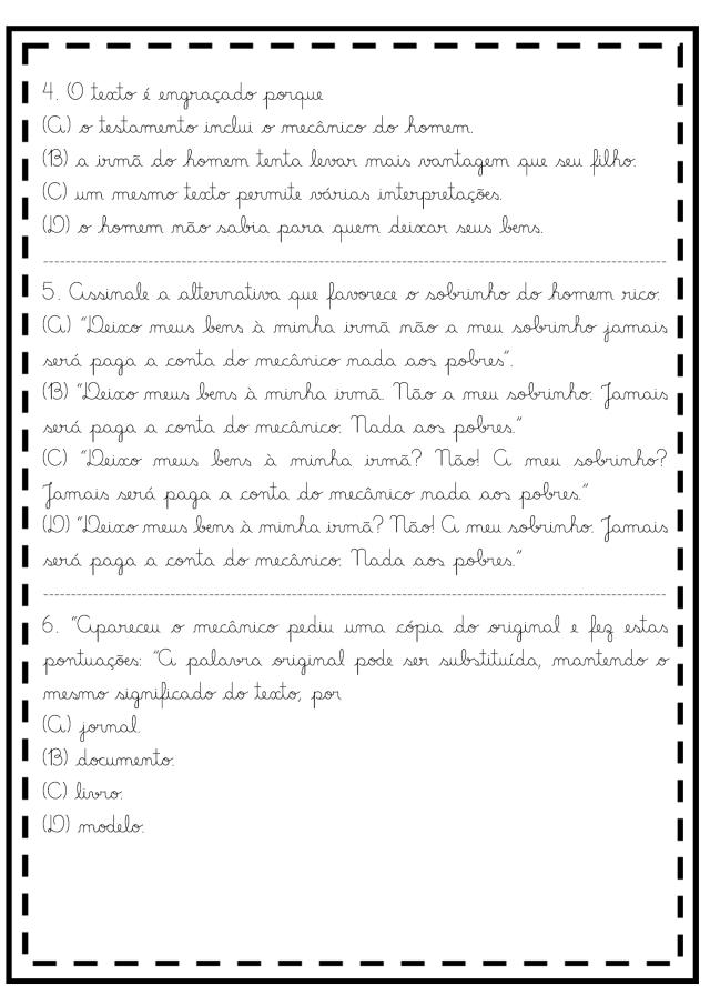 Atividades de Língua Portuguesa 6º ano