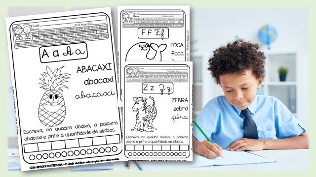 Alfabeto: letras, desenhos e palavras