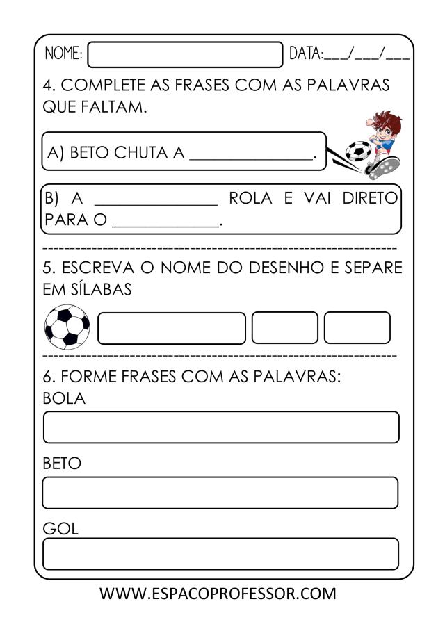 Atividade de Português 1º ano para imprimir em PDF