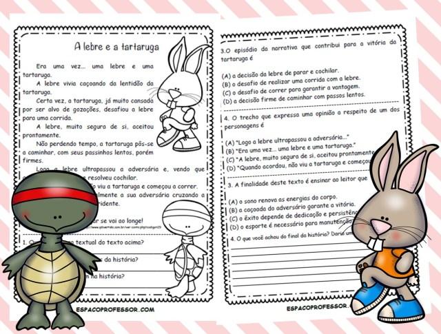 Atividade com a Fábula a Lebre e a Tartaruga em pdf