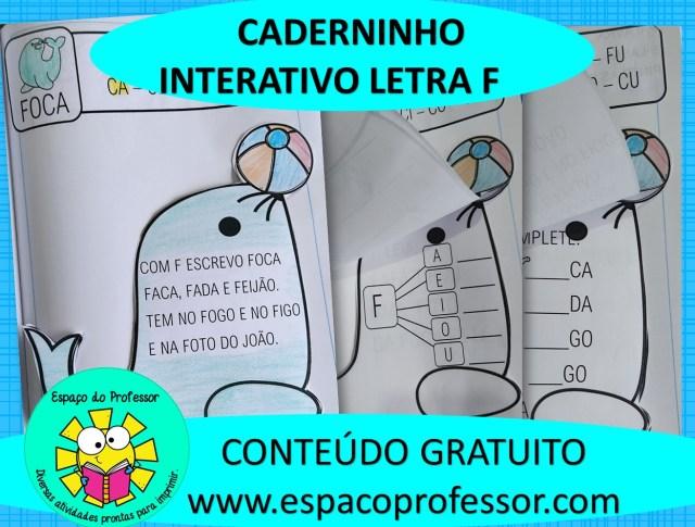 Alfabetização - Caderninho de atividades interativas letra F