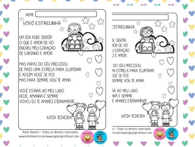 Textos para atividades dia dos avós Vovó estrelinha