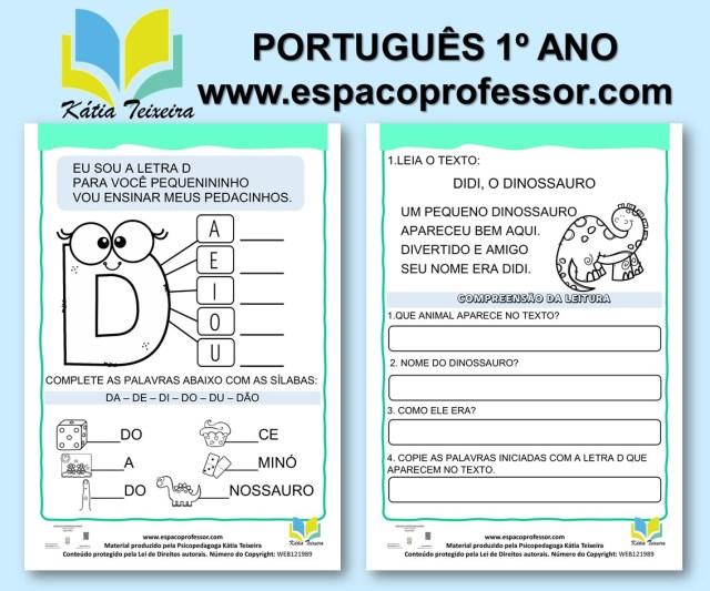 Atividades de português 1º ano- alfabetização letra D