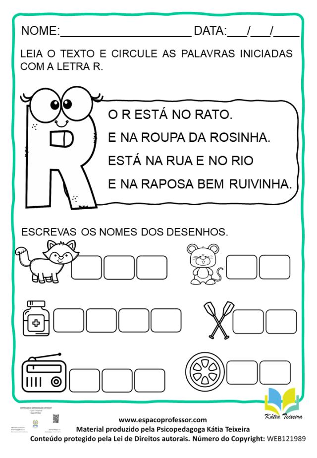 Atividade De Português 1º Ano: Alfabetização Letra R
