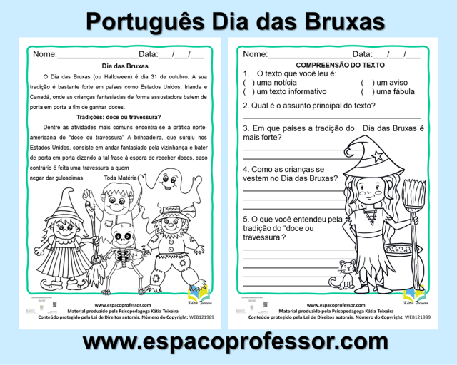 Atividade de Português Dia das Bruxas em PDF