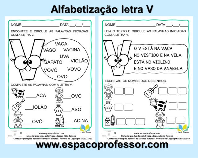 Atividades 1ºano- Atividades De Alfabetização Letra V