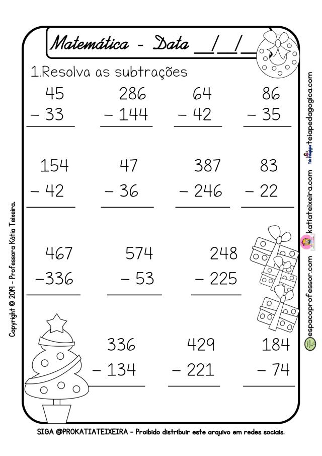 Atividades de matemática 2º ano com tema Natalino