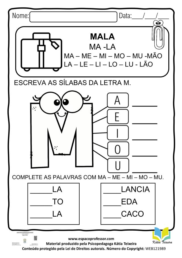 Atividades de alfabetização letra M em PDF para baixar