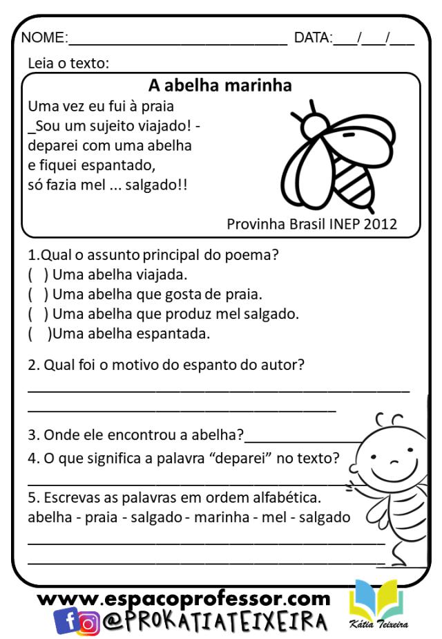 Atividades de alfabetização 2º ano em pdf - A abelha marinha