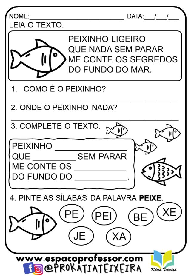 Atividade de alfabetização 1º ano Peixinho ligeiro - atividade de português