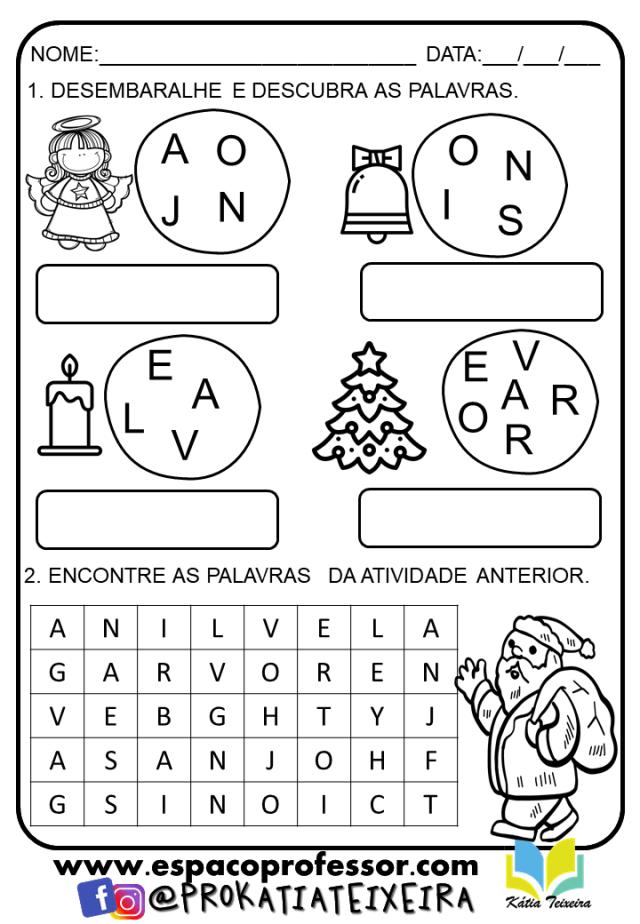 Atividade de Natal para Alfabetização - Símbolos Natalinos