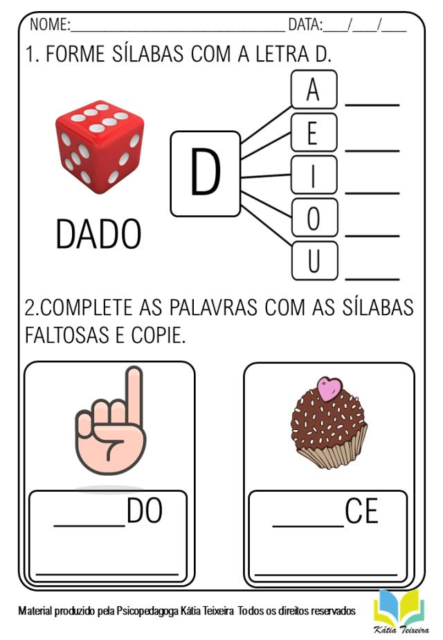 Atividades De Alfabetização Letra D PDF Para Imprimir