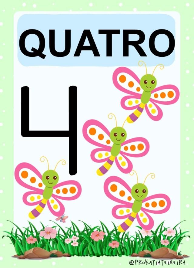 Cartazes números para imprimir em PDF Bichinhos de Jardim