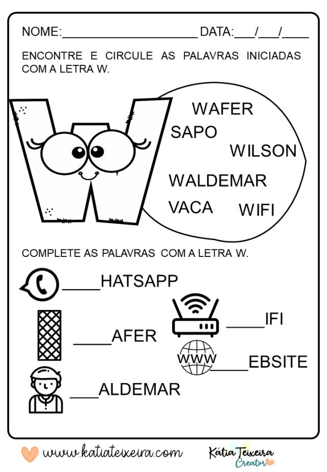 Atividades de alfabetização letra W em PDF