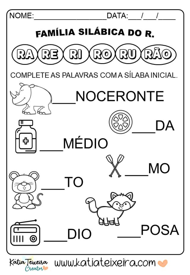 Atividades de alfabetização letra R prontas para imprimir