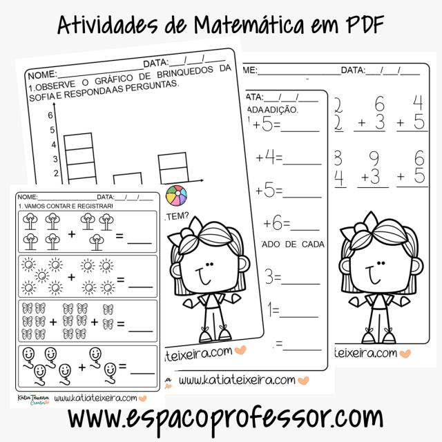 Atividades de matemática 1º ano - gráfico, adição e subtração em PDF