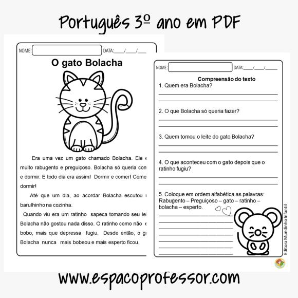 Atividade de português 3º ano O gato Bolacha em PDF
