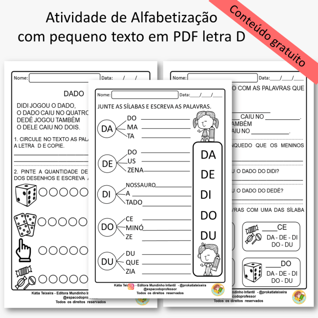 Atividades de Alfabetização com pequeno texto em PDF letra D