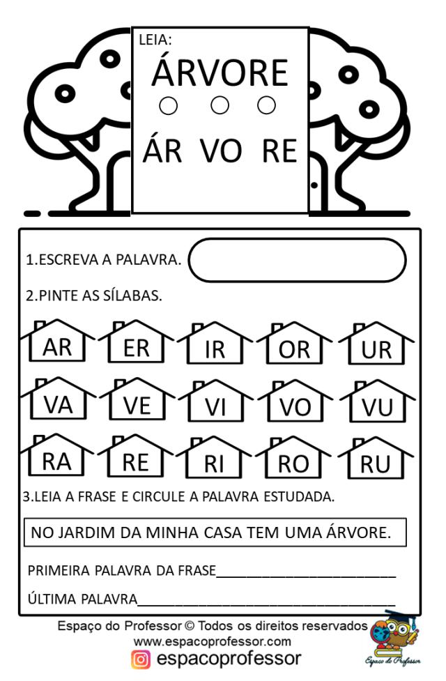 Atividade de Alfabetização palavras árvore, bolo, borboleta e caracol