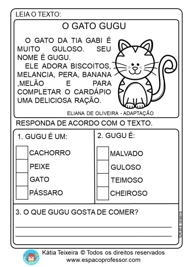 Atividades de Alfabetização com Pequeno Texto em PDF letra G