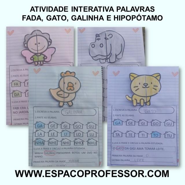 Atividades de Alfabetização. Palavras fada, gato, galinha e hipopótamo