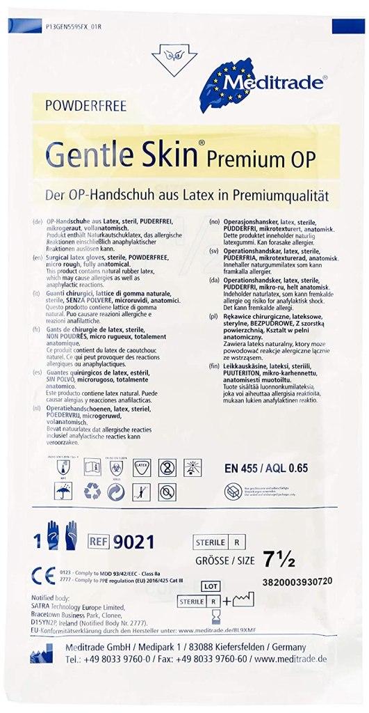 Meditrade Guants quirúrgics de pell suau d'alta qualitat, sense pols, mida 7,5 (paquet de 100) Per