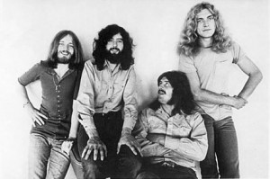 A banda em 1971 - John Paul Jones, Jimmy Page, John Bonham, Robert Plant