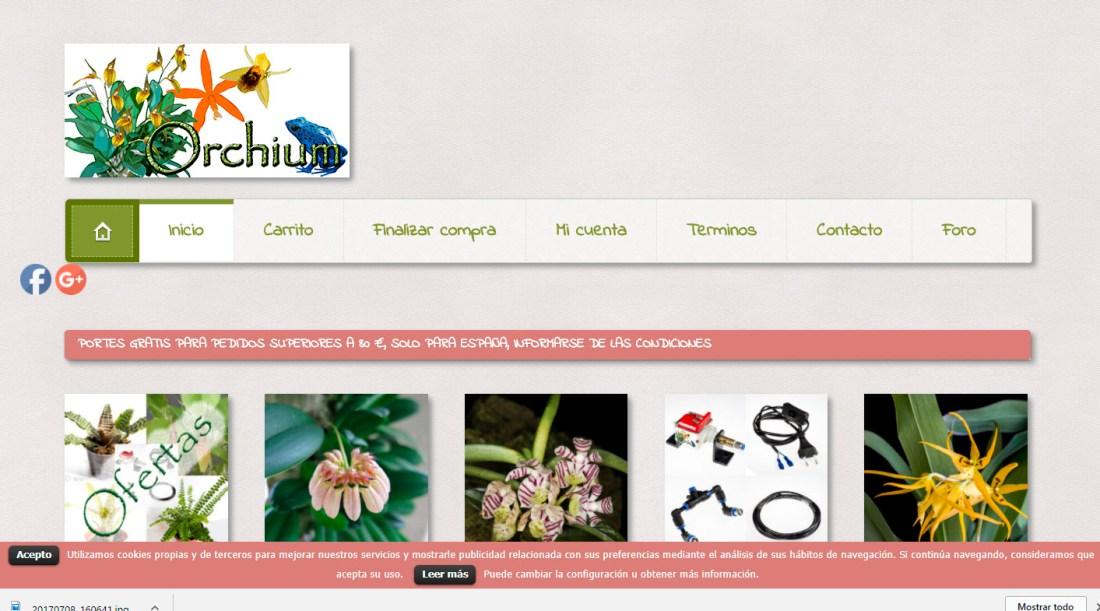 Web de la tienda online Orchium.