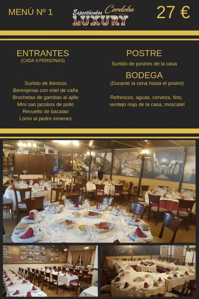 Cena restaurante despedidas en Córdoba menú restaurante el Cármen para grupos de despedidas