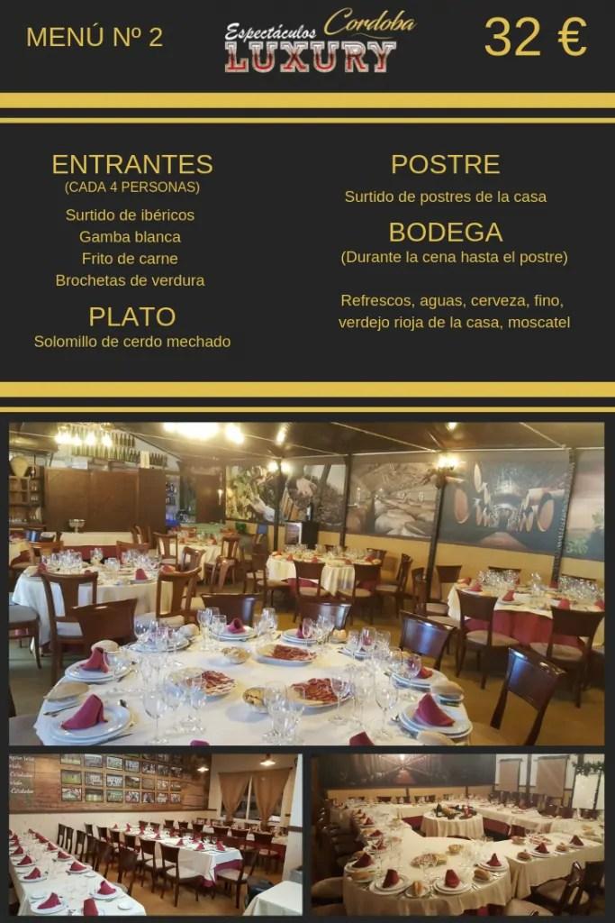 Cena restaurante despedidas en Córdoba menú restaurante el Cármen