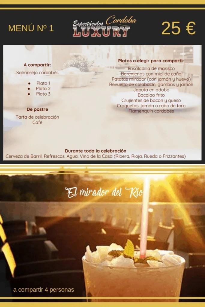 Restaurante en Córdoba para despedidas menú 25 € mirador del rio