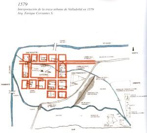 Interpretación de la traza urbana de Valladolid en 1579.