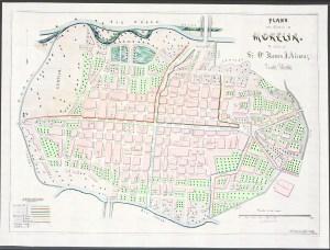 Plano de la ciudad de Morelia 1868.