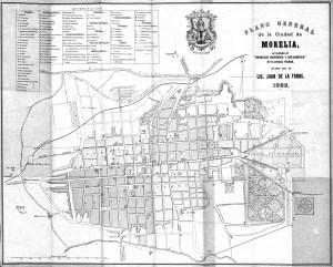 Plano General de la Ciudad de Morelia, por el Lic. Juan de la Torra, 1883.