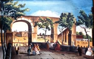 Acueducto, Calzada y Capilla de las Ánimas, por Mariano de Jesús Torres, hacia 1850. El sitio donde se encuentra la fuente de las Tarascas se vería a través del arco más a la izquierda.