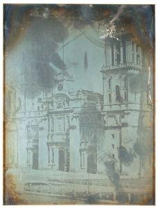Daguerrotipo fachada de la Catedral Metropolitana, por Jean Prelier Dudoille, circa 1840